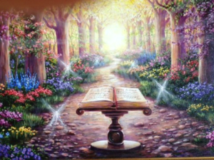 An illustration of what heaven might look like with beautiful flowers and trees all different colors and shaped at sunrise with an open book on a pedestal in the center. It looks very angelic.